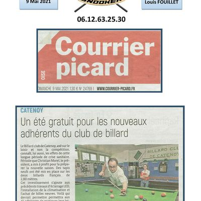 Publication au Courrier Picard du 09 Mai 2021.
