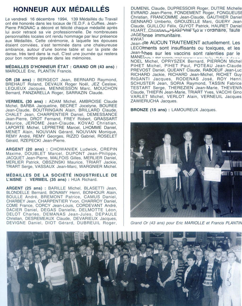 Album - groupe Saint-Gobain, la verrerie de Vauxrot ( Aisne), les médaillés