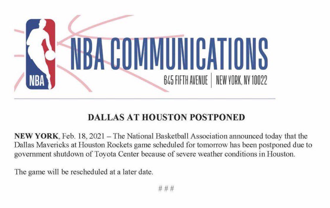 Le match entre Dallas et Houston reporté par la NBA