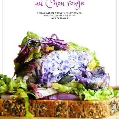 Fricadelle Chou rouge & Poulet sur tartine de pain noir