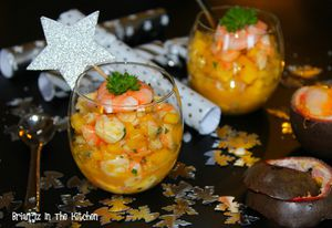 Verrines de Gambas à la Mangue et Fruit de la Passion