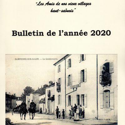 LE BULLETIN 2020 DES AMIS DE NOS VIEUX VILLAGES HAUT SAÔNOIS VIENT DE SORTIR!