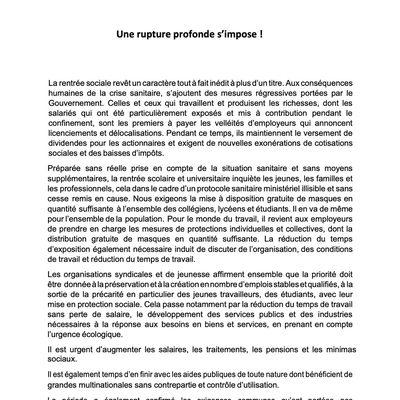 1ERE JOURNEE D'ACTION INTERSYNDICALE DU 17 SEPTEMBRE 2020