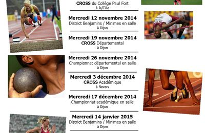CALENDRIER ATHLETISME HIVERNAL 2014/2015