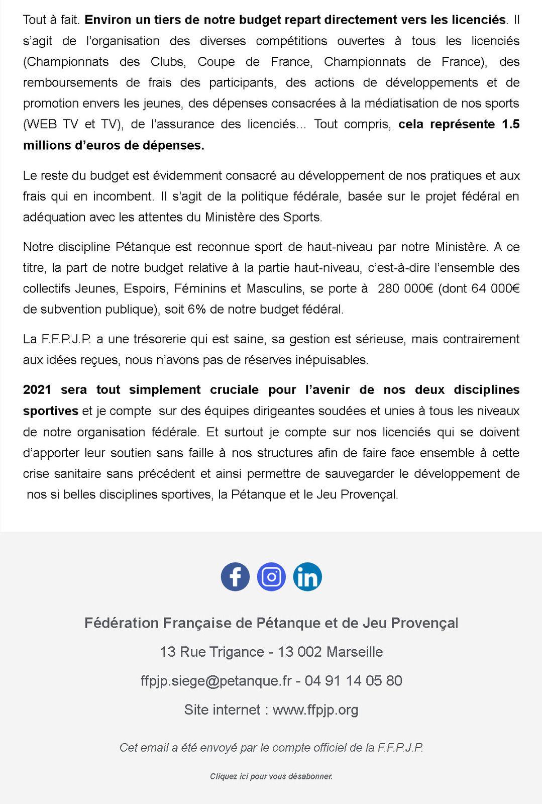 Communiqué Officiel FFPJP 18 janvier 2021