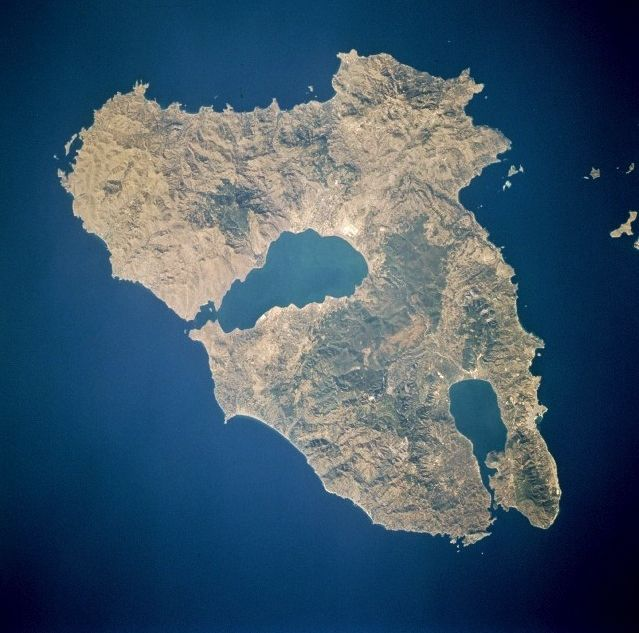 The island of Lesbos, and its two gulfs - photo eol.jsc.nasa.gov