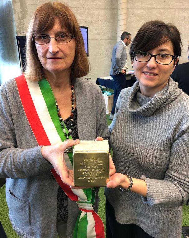 nelle foto: La pietra d'inciampo dedicata ad Attilio Mazzi e il Sindaco e Assessore alla Cultura nel momento del ricevimento della Pietra