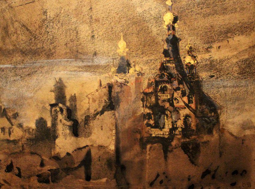 Souvenir d'Espagne 1850 - Plume, lavis d'encre brune, encre noire, crayon graphite, fusain, gouache, encre dorée, parties frottées sur papier vélin