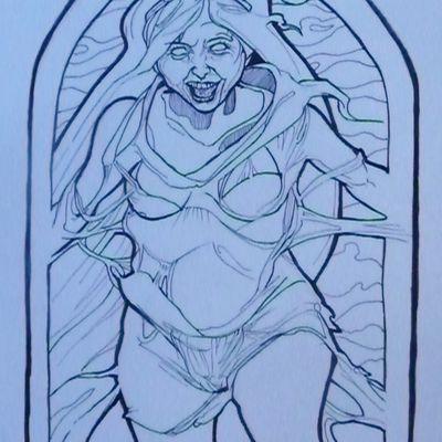 La Dame Blanche - illustration à colorier.