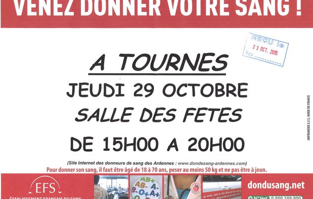 Don du sang à Tournes le 29/10/2015