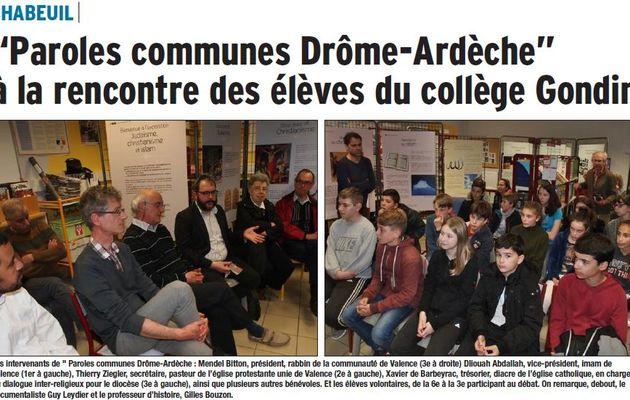 """L'association """"Paroles communes Drôme-Ardèche"""" à la rencontre des élèves du collège Gondin à Chabeuil"""