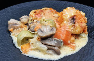 Gratin de patates douces, champignons et poireaux
