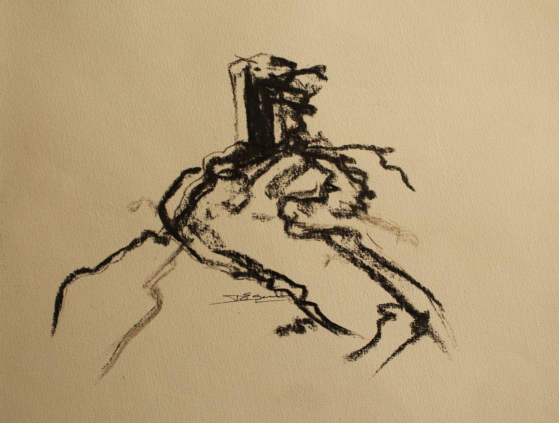 avec des fusains, des  morceaux de bois brûlés je dessine les ceps de vignes avec ses racines.
