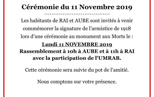 Cérémonie du 11 novembre 2019 à Aube et à Rai