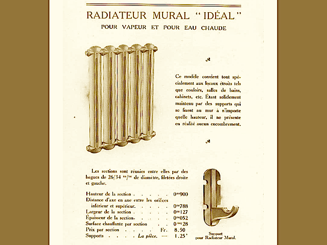 "Radiateurs lisses ""IDEAL 1909"" Compagnie National des Radiateurs France"