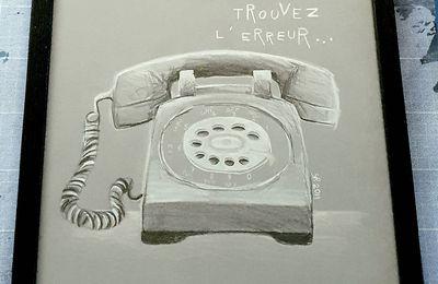 Dessin téléphone vintage encadré