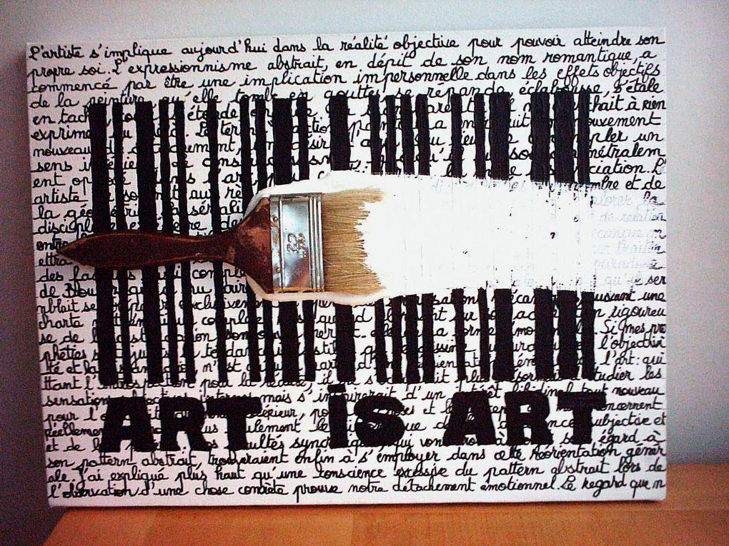 """Quelques productions sur le thème de la """"peinture""""... Quelques versions du genre : Peinture en tube, pinceau piégé, faux-vrai chassis... Des ingrédients de la peinture pour ne pas faire de la peinture???:-)"""