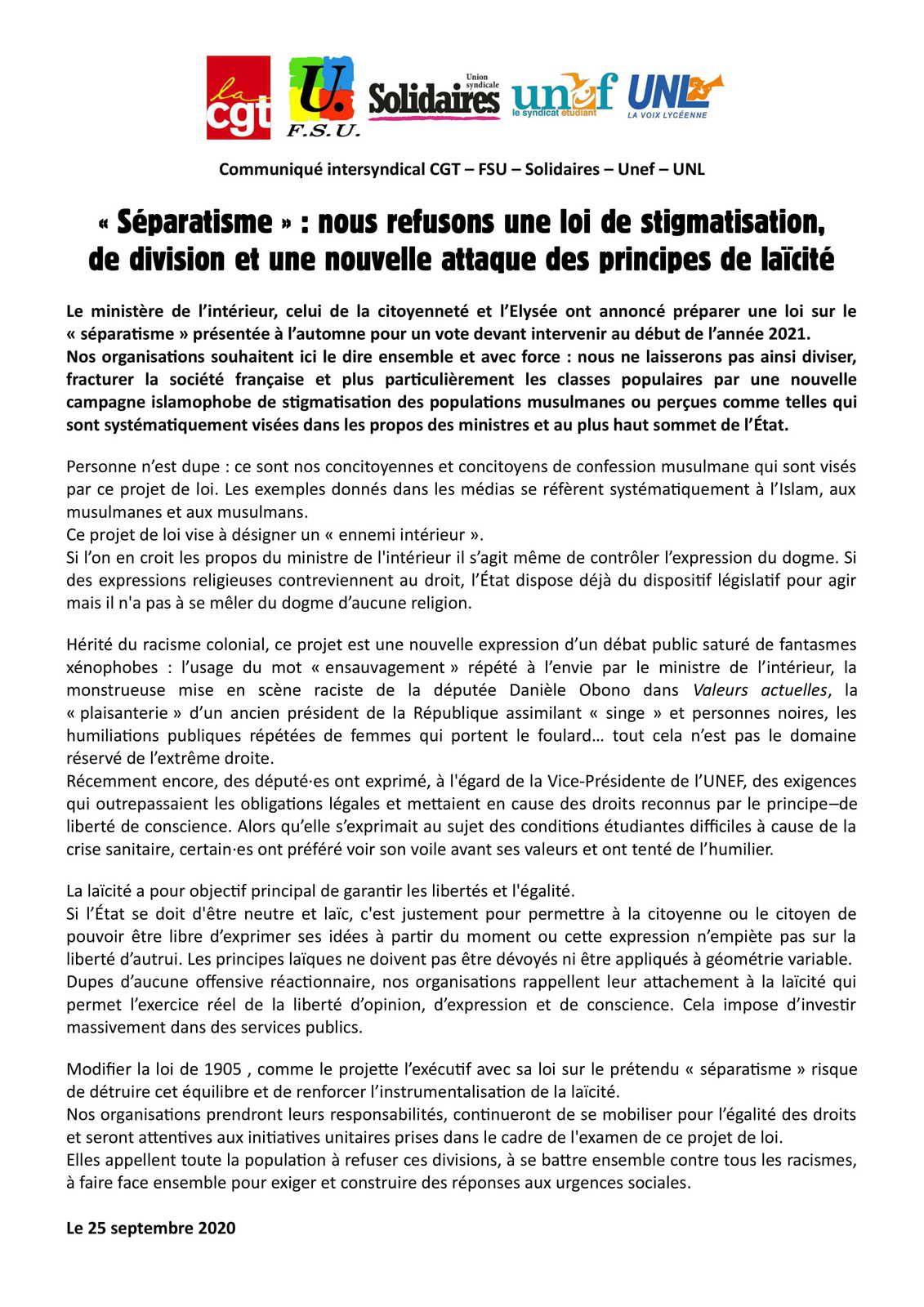"""""""Séparatisme"""" : Nous refusons une loi de stigmatisation, de division et une nouvelle attaque des principales de laïcité"""