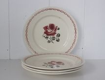 Lot de 5 assiettes à dessert Badonviller Décor rose Vintage
