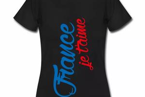 T shirt noir pour femmes France je t'aime