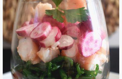 Salicorne et crevettes en verrine