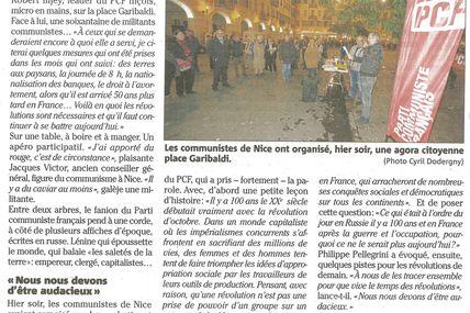 Initiative de la section de Nice du  PCF pour les 100 ans d'octobre 17 (Nice matin)
