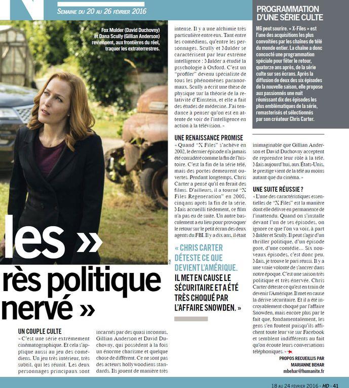 Le retour médiatique de The X-Files (entretiens et critiques)