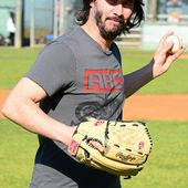 Keanu Reeves throws opening pitch for youth baseball league in LA