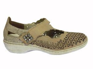 Chaussures RIEKER à Paris : réf. 413G4-33 rouge et 4134-42 beige taupe.