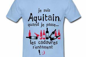 T Shirt Aquitaine bleu c homme Aquitain quand je passe