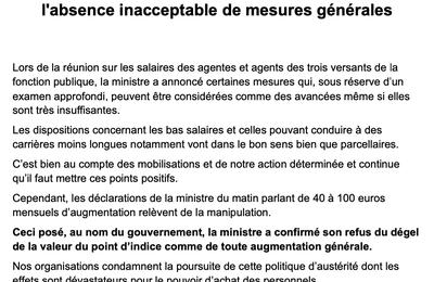 Conférence salariale : l'absence inacceptable de mesures générales