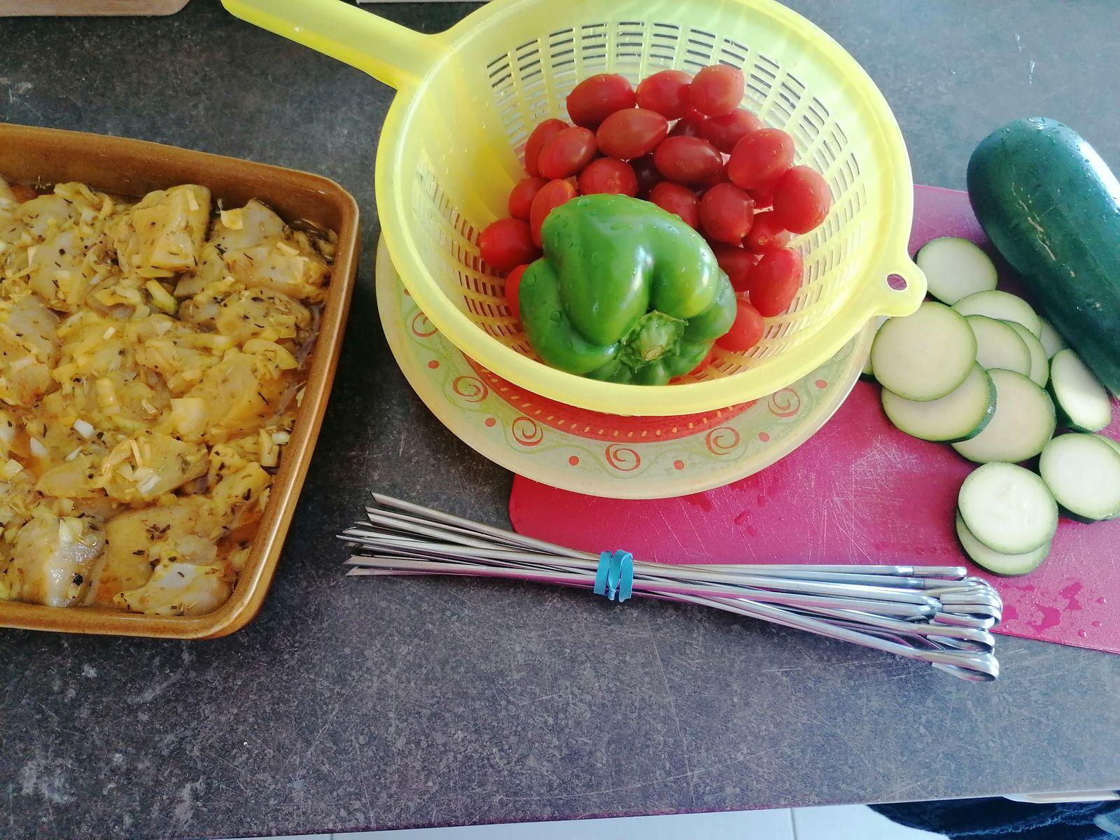 Brochettes de poulet citron miel et épices