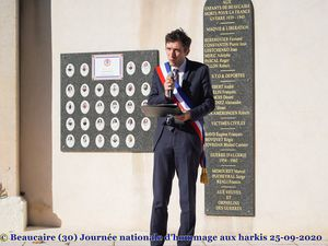 Beaucaire (30) Journée nationale d'hommage aux harkis 25-09-2020