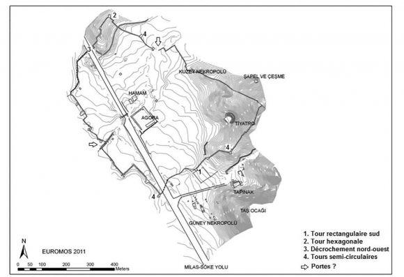 Plan de l'antique cité d'Euromos - Source photo : https://journals.openedition.org/anatoliaantiqua/391