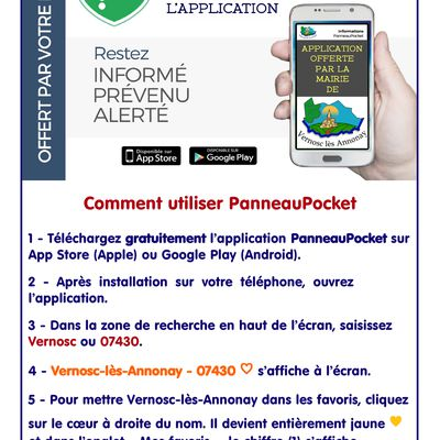 La Mairie de Vernosc-lès-Annonay met à votre disposition l'application PanneauPocket