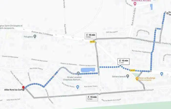 Capture des deux itinéraires possibles qu'Estelle Mouzin pouvait emprunter le 9 janvier 2003 pour rentrer chez elle. - CAPTURE GOOGLE