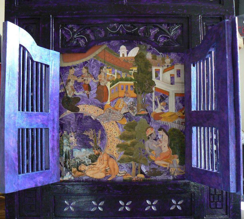 Panneau deux portes bois et fond plexiglas