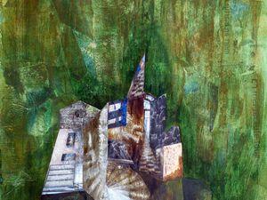 Collage peint initial, et sa réinterprétation sur une base de raclages, par Sylvie Boucard (Cliquez pour voir les images en entier).