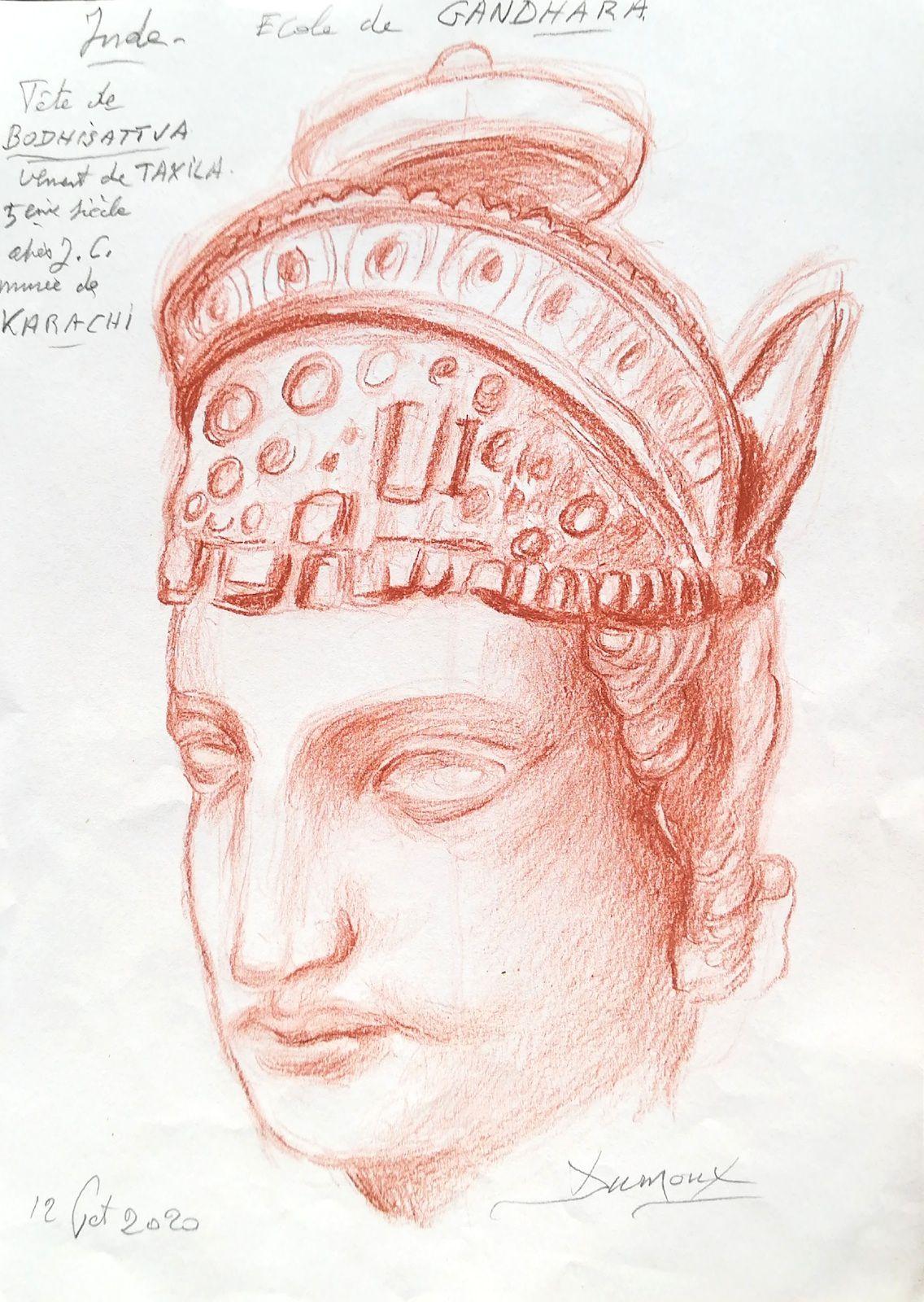 Étude « Inde, École de Gandhara, Tête de Bodhisattva » Sanguine sur papier- R. Dumoux