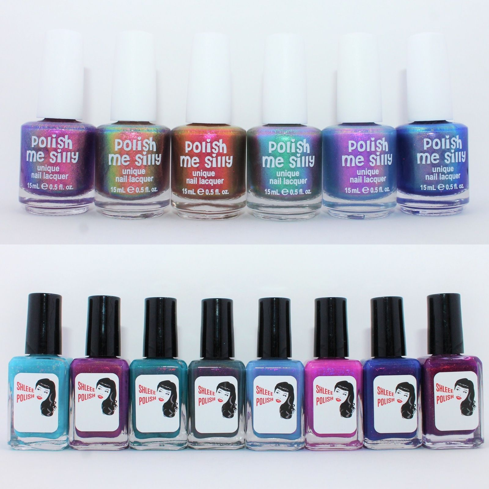 Polish Me Silly Glow Pop Collection Part 3 - Prism Glow, 24 Hour Glow, Gotta Glow, Glow Getter, Twilight Glow, Cotton Candy Glow. Shleee Polish Flashback, Things We Do For Love, Daydreamer, Conjure, Close Your Eyes, Flamingo Topaz, Mood, Vamp Style.
