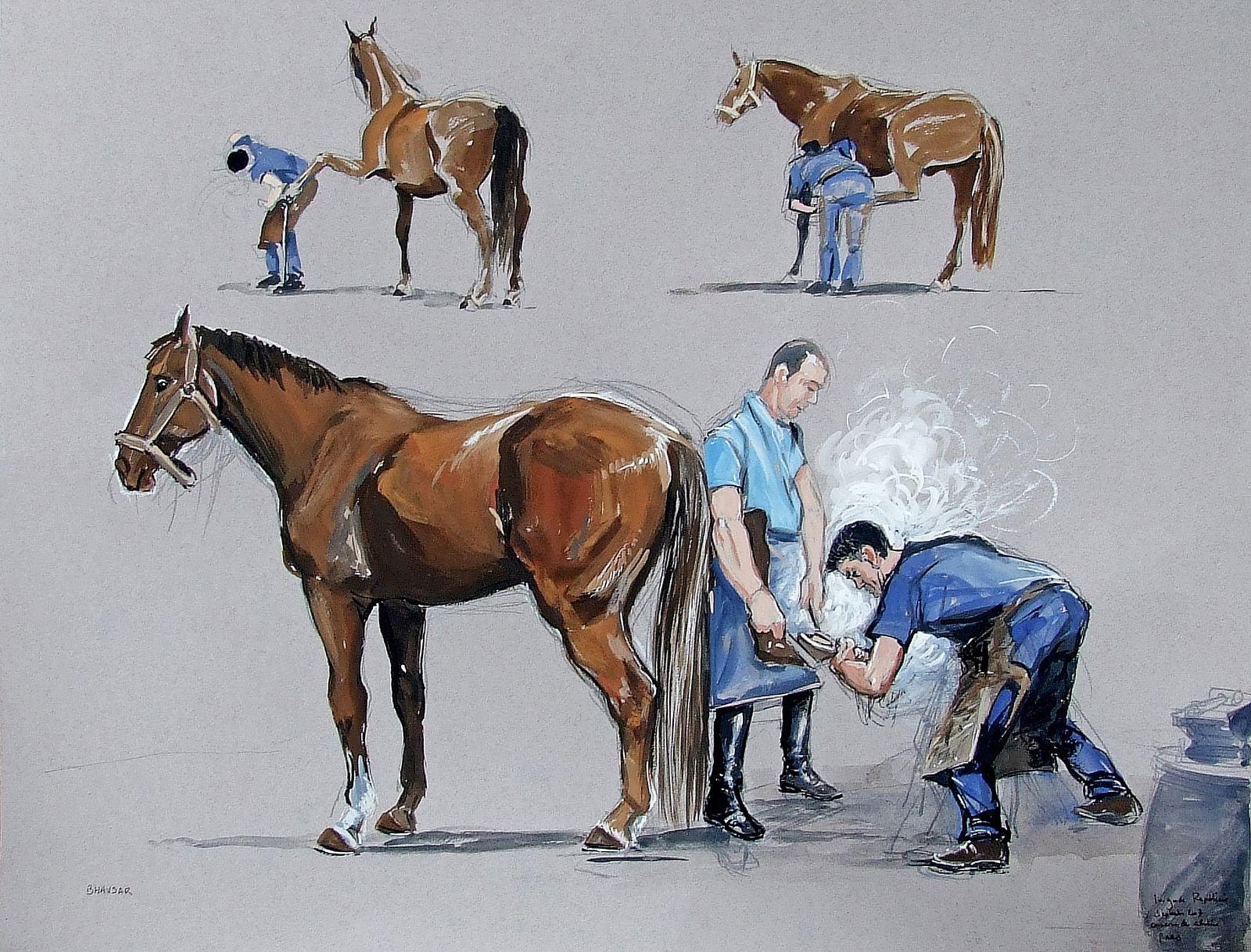 Pendant les six premier mois de l'année 2007, tous les vendredis, j'ai été peindre la vie des chevaux au quartier des Célestins à Paris.