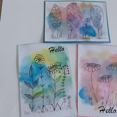 trois petites cartes  aquarelle