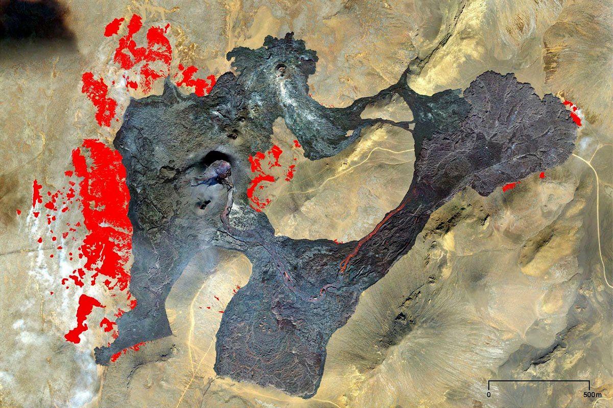 Fagradalsfjall - Lava flows and burnt areas, in red - Doc. Hans Hansen 18.05.2021 via Náttúrufræðistofnun Íslands