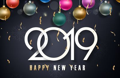 Happy New Year - Fêtes - Boules - Décorations - Wallpaper - Free