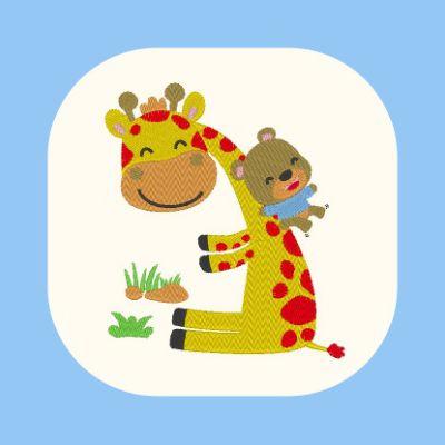 Broderie Girafe tobogan avec petit ourson