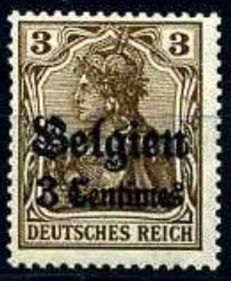 Fig.2: Timbres allemands surchargés «Belgien». Emis à partir du 1 10 1914, ils auront cours jusqu'au 11 novembre 1918.