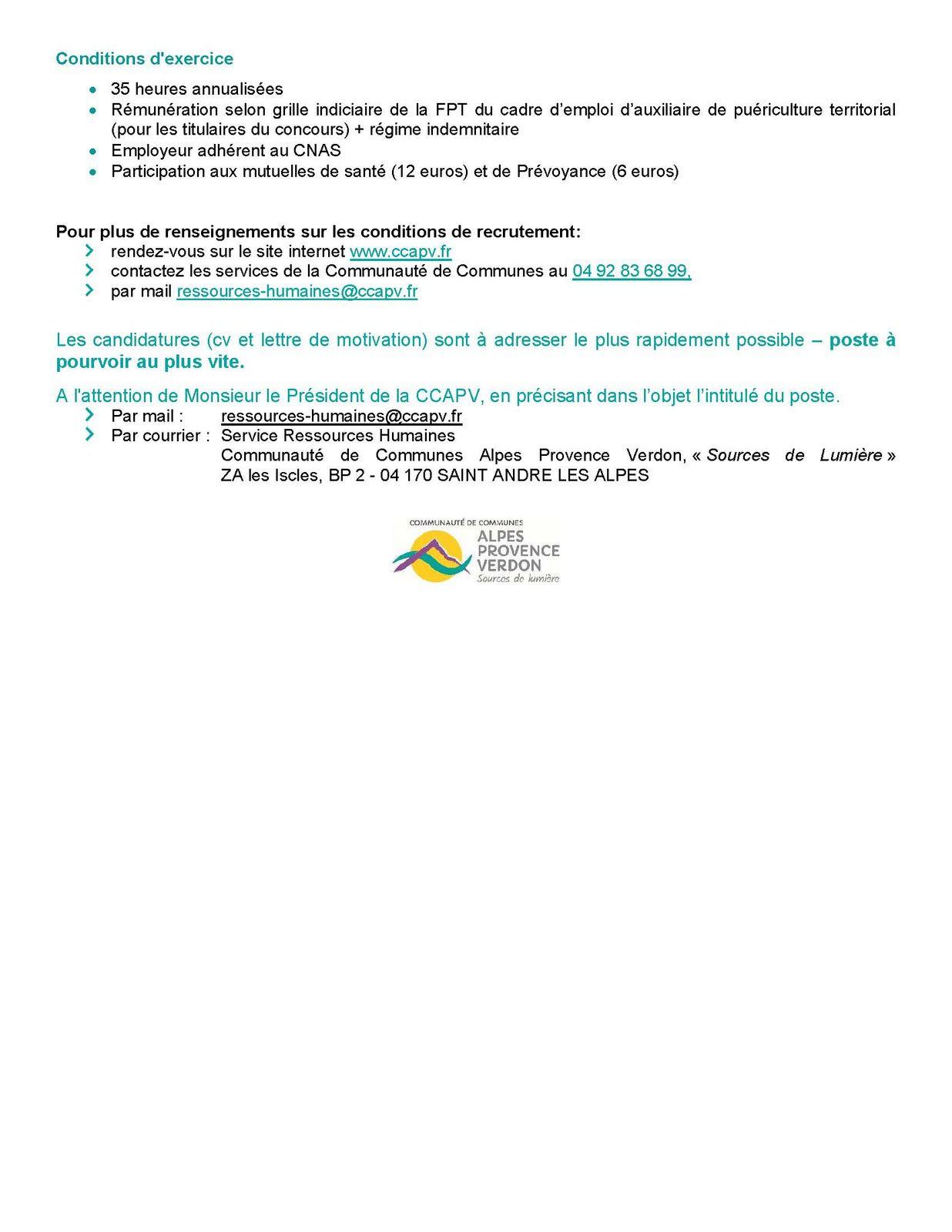 Offre Emploi ccapv ;  CDD  agent d'animation et directeur de site pour l'école de Colmars ,Un directeur d'accueil collectif de mineurs