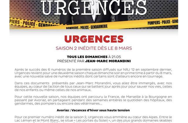 Saison 2 du magazine Urgences, avec Morandini, dès le 8 mars sur NRJ12.