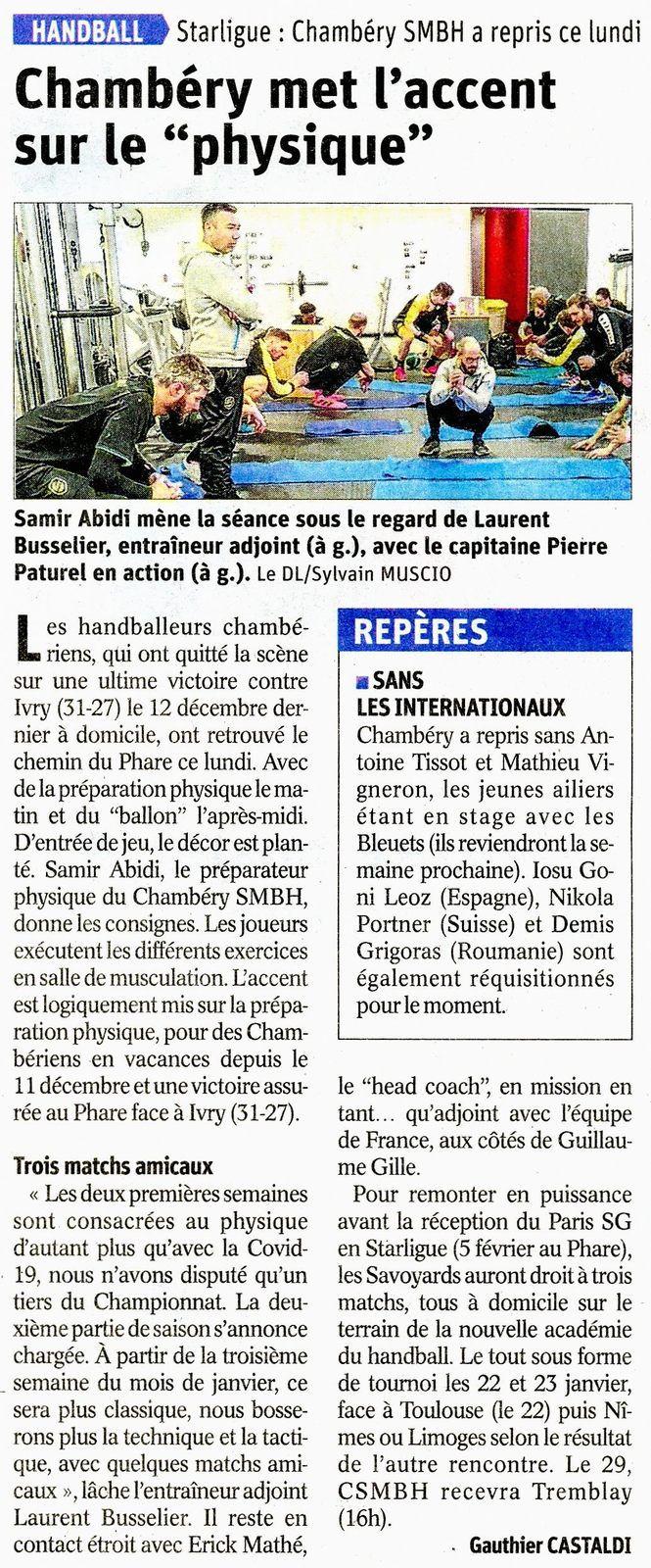 La reprise pour Chambéry article du DL le 05 janvier 2021 par Gauthier CASTALDI