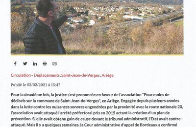 La dépêche Ariège parle de nous (03/02/2021)
